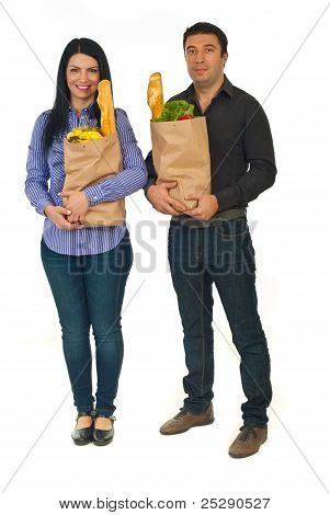 Full Length Of Couple With Shopping Food
