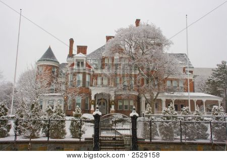 New York State Governors Mansion During Snowstorm