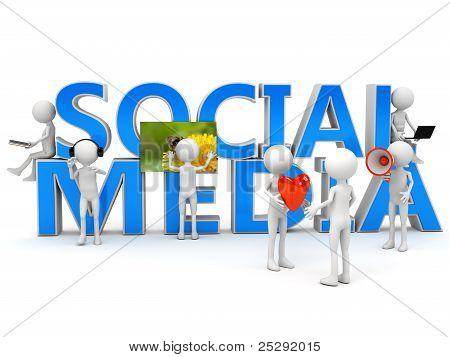 Conceito de mídia social sobre branco