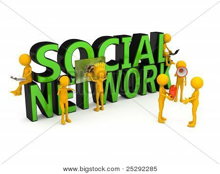 Social network concept over white