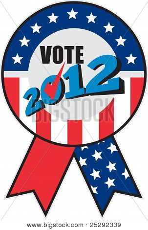 American Election Usa Ribbon Tick 2012