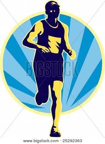 Marathon Läufer Running Retro