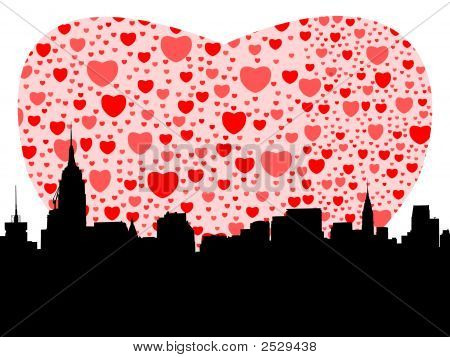 Midtown Manhattan With Hearts Illustration
