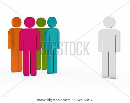 Team People Colorful With Leader