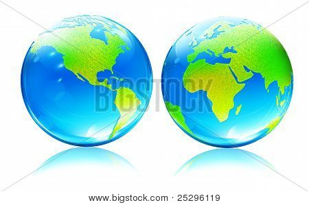 Glossy Earth Map Globes