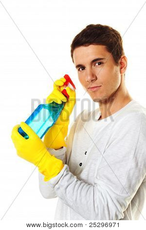 man with cleaning fluid.