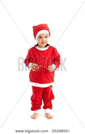 Little girl in santa costume holding red christmas bulb, looking at camera.?