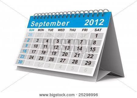 2012 year calendar. September. Isolated 3D image
