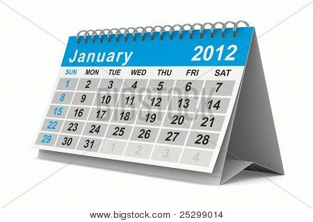 2012 year calendar. January. Isolated 3D image