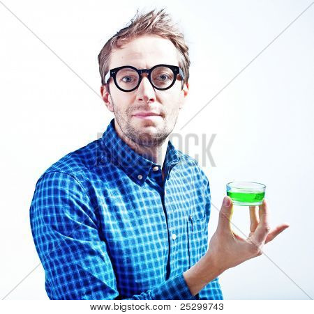 isolated crazy-style  scientific with beaker, holding in his hand