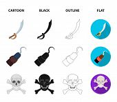 Pirate, Bandit, Cap, Hook .pirates Set Collection Icons In Cartoon, Black, Outline, Flat Style Vecto poster