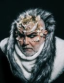 Severe Emperor Of Perpetual Cold Realm Wearing White Fur Coat With Hood. Demon With Horns On Head An poster