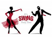 Elegant Couple Dressed In 1950s Clothes Style, Dancing Jazz Or Swing poster