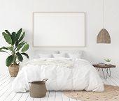 Mock-up Poster Frame In Bedroom, Scandinavian Style, 3d Illustration poster