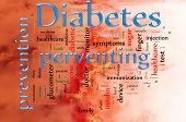 picture of diabetes symptoms  - Word cloud concept illustration of Diabetes and preventing - JPG