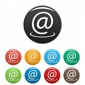 Email Address Icons Set.  Simple Set Of Email Address  Icons In Different Colors Isolated On White poster