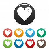 Broken Heart Icons Set.  Simple Illustration Of Broken Heart Icons Isolated On White Background poster