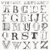 image of alphabet letters  - hand drawn vintage alphabet - JPG