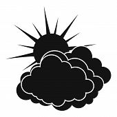 Blue Cloudy Sun Icon. Simple Illustration Of Blue Cloudy Sun  Icon For Web poster