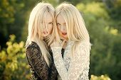 Sisters Twins Posing On Natural Landscape. Beauty And Fashion. Two Women With Red Lips And Long Blon poster
