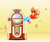 stock photo of jukebox  - Vector illustration in retro style of party abstract background with detailed classic juke box - JPG