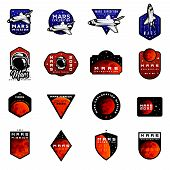 Bundle Of Mars Expedition Logos Concept With Space Shuttle. Space Mission Badges For  For Expedition poster