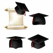 Vector Graduation Cap With Diploma, Official Document Of Education In University Or College. Master  poster