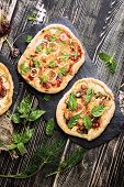 Pizza On A Wooden Table. Italian Pizza Restaurant Menu poster
