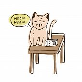 Cute Naughty Cat Sitting On Bedside Table Near Digital Clock And Meowing At Night. Nasty Loud Kitty. poster