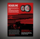 Vector Automotive Banner Template. Grunge Tire Tracks Background For Landscape Poster, Digital Banne poster