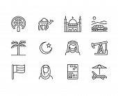 Uae Flat Line Icons. Arab Emirates Flag, Dubai , Islam Mosque, Desert Offroad Car, Muslim People, Ca poster