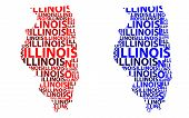 Sketch Illinois (united States Of America) Letter Text Map, Illinois Map - In The Shape Of The Conti poster