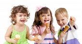 pic of ice cream cone  - happy children group with ice cream in studio isolated - JPG