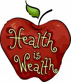 stock photo of maxim  - Icon Illustration Representing Health is Wealth - JPG