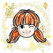 Vector Illustration Of Beautiful Red-haired Happy Girl Face, Positive Face Features, Teenager Winkin poster