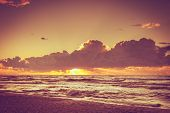Beautiful Seascape Evening Baltic Sea Sunset Horizon And Cloudy Sky. Tranquil Scene. Natural Backgro poster