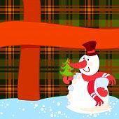 Постер, плакат: Снеговик с елки вблизи большой подарок