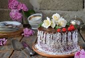 Gluten-free And Dairy-free Cake Decorated With White Roses And Coconut: Chocolate-nut Biscuit, Berry poster