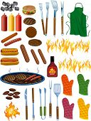 stock photo of briquette  - BBQ Items Vector Illustration - JPG