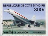 IVORY COAST - CIRCA 1977: A stamp printed in The Ivory Coast shows Aérospatiale-BAC Concorde a turb