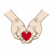 Hands Asking Posture. One Hand On Top Of Other With Red Heart Pop-art Vector. Church, Hands, Blessin poster