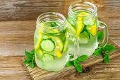 Sassy Water. Fresh Cool Water With Cucumber, Lemon, Ginger And Mint. Detox And Weight Loss. poster