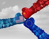 European China And American Trade Fight And Tariff War As A Chinese Europe Usa Economic Problem As C poster