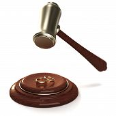 Gavel Breaking Golden Rings As A Divorce