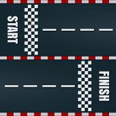 Start And Finish Line Racing Track Marking. Car Or Karting Road Race Rally Vector Background Top Vie poster