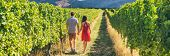 Winery vineyard tourists couple walking on wine farm tour on travel vacation. Wine tasting holiday p poster