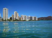 stock photo of waikiki  - View from the water of hotels at Waikiki Beach on Oahu in Hawaii - JPG