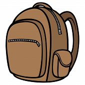 Backpack - A Vector Cartoon Illustration Of A Hiking Backpack. poster