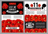 Poppy Day Lest We Forget Poster For Remembrance Day Template. Red Poppy Flower Field With 11 Novembe poster