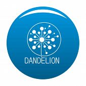 Faded Dandelion Logo Icon. Simple Illustration Of Faded Dandelion Icon For Any Design Blue poster